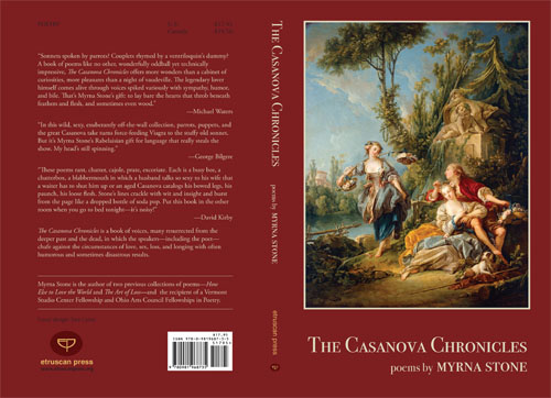 Full cover design of The Casanova Chronicles by Myrna Stone