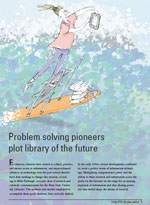 illustration of a librarian surfing through a sea of books by David Stong